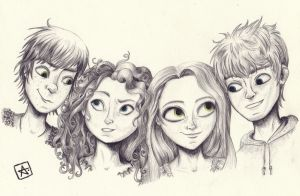 Jack, Merida, Rapunzel and Hiccup by manzanaperdida