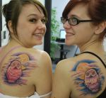 Matching Owls tattoos by joshing88