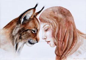 Lynx and a girl by Rubi