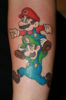 Mario brothers Tattoo by MeghanBeth