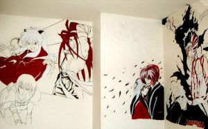 Anime wall paintings by lunaSerene