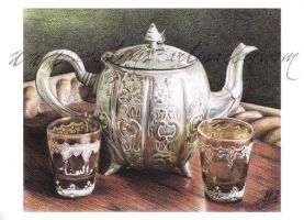 Tea Time with colored pencils by ArtisAllan