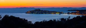 Panorama of Primosten at Dusk by ivancoric