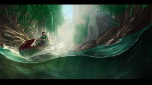 Uncharted- Heading upriver by helioart