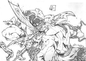 Conan vs Kratos by marvelmania