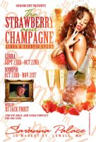 Strawberry and champagne flyer by DeityDesignz