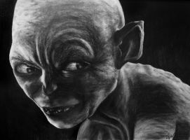Pencil Portrait - Gollum - Lord of the Rings by Anngelik