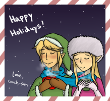 Holiday Link and Zelda by couch-san