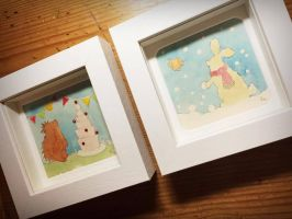 FB Hedgehog, Bunny and Bird- Original Watercolours by PaperPandaCuts
