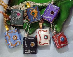 Polymer Clay Mini Book Pendants 3 by plasterfish