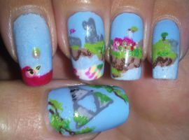 The Legend of Zelda to the skies nail art by amanda04