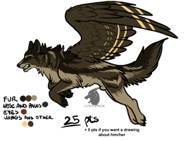 Winged wolf adoptable 5 _CLOSED_ by thelunapower