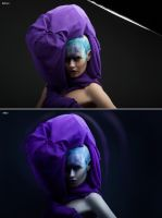 Violet blurred before after retouch by Kri3X