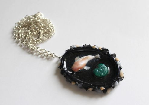 Polymer Clay and Resin Koi Fish Rock Pool Pendant by ChroniclesOfKate