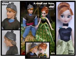 repainted ooak frozen mini dolls anna + kristoff. by verirrtesIrrlicht