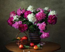 Peonies and nectarines by Daykiney