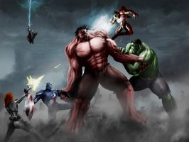 Avengers vs Red Hulk by jose144
