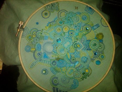 Blue Green Freehand Embroidery by cultchylde