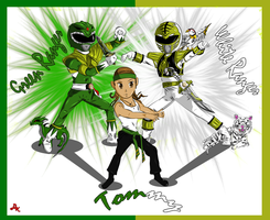 Tommy Green And White Ranger by DK-DarkKitty