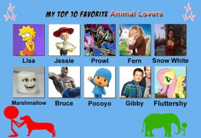 My top ten favorite animal lovers by Porygon2z