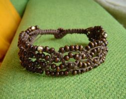 brown macrame anklet by were-were-wolfy