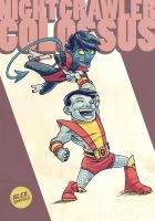 Nightcrawler and Colossus by alexsantalo