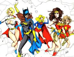 Ladies Of Dc Marker Sketch by NickUnlimited