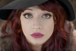 Redhead witch with red lips and green eyes by pathyelisia