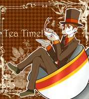 Professor Layton - Tea Time! by CrazyAcidArt