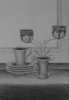 Still Life with candlestick by Nymphaerel