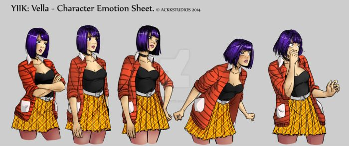 AckkStudios Y2K: Vella Character Emotion Sheet by BrigidAllanson