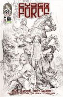 Cyber Force 1 black and white cover by TopCowOfficial