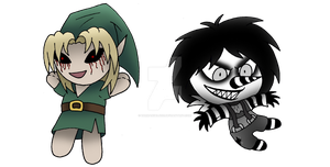 Chibi BEN and Laughing Jack by darkangel6021