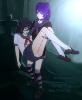 Yandere Simulator - Oka Ruto and Yandere-chan by korna000