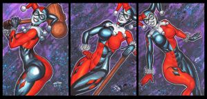 CLASSIC HARLEY QUINN PERSONAL SKETCH CARDS by AHochrein2010