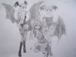 morrigan, lilth and samus aran by Evil-Alice8