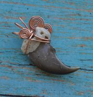 Copper Black Bear - Real Wire Wrapped Claw Pendant by MorRokko