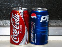 Stock:  Coke and Pepsi Cans by IvyPhotography