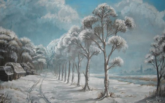 Winterscene Acrylic paint by Joey-B