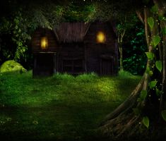 The cottage in the woods BG STOCK by Moonglowlilly