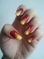 Flaming nails by IrishArtiste