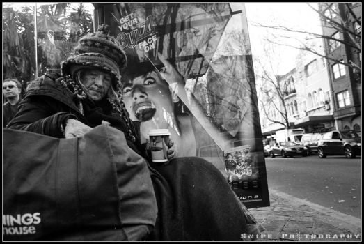 Old Lady at Bus Stop by SnipePhotography