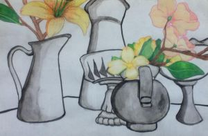 Drawing: Still Life with 2 mediums by sarahsmiles916