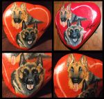 German Shepard rock painting by Treekami