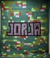 Minecraft Grass Texture Name Quilt by 8bitHealey