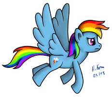Rainbow Dash Flying by caffeinejunkie