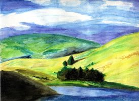 Lake and hills by Akaiko