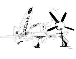 Hawker Sea Fury T. 20  VX 281 with wings folded by bowdenja