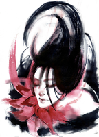 sad red flower by Ametakeru