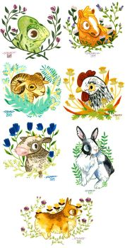 Floral animals by inu-steakcy
